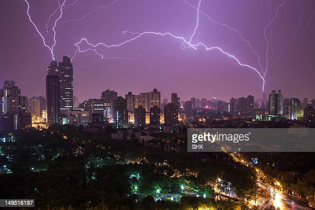Lightning of Shanghai night sky