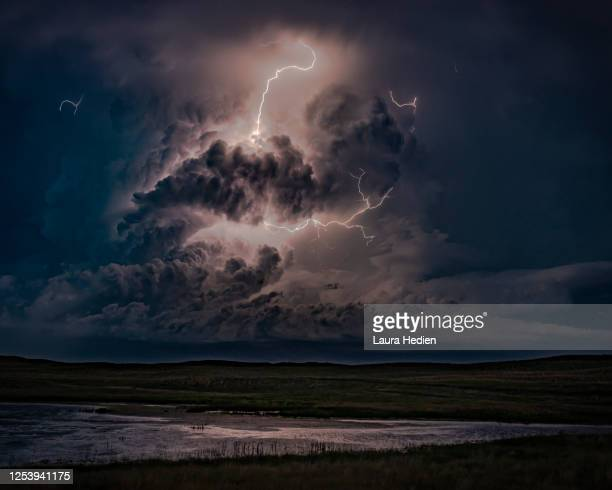 lightning on the great plains - lightning stock pictures, royalty-free photos & images