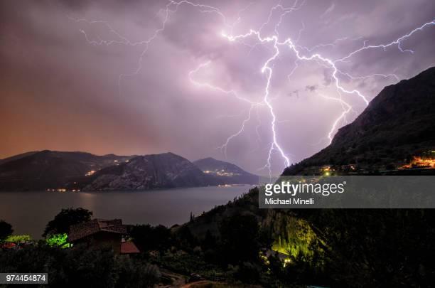 Lightning over a lake.