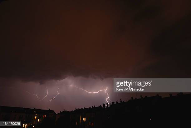 Lightning over a residential area in Leipzig, Saxony, Germany, Europe