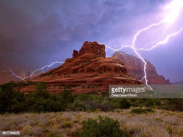 Lightning over Bell Rock, Arizona, America, USA