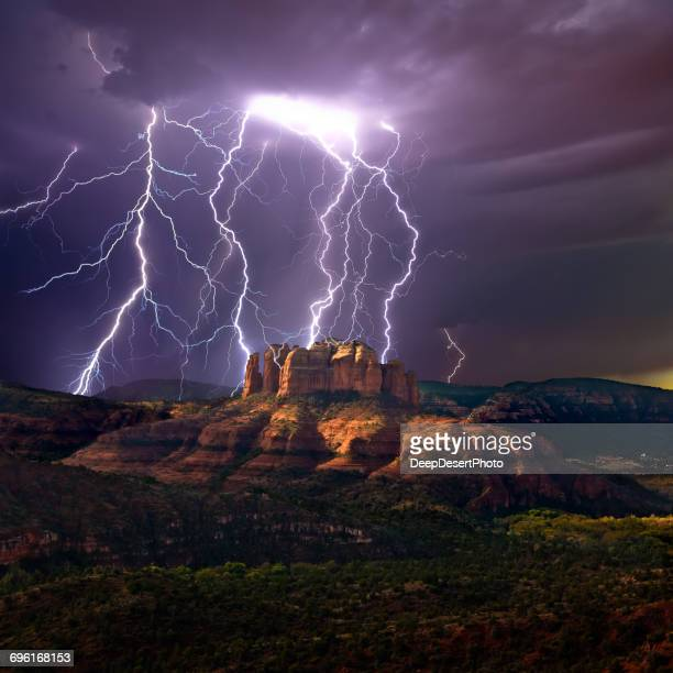 Lightning over Cathedral rock, Sedona, Arizona, America, USA