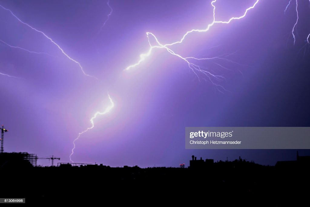 Lightning over city : Stock Photo