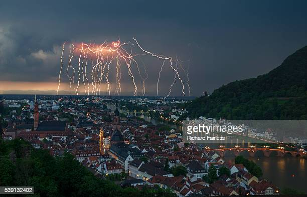 lightning over heidelberg - heidelberg germany stock pictures, royalty-free photos & images