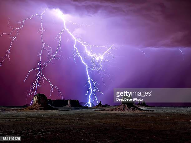 Lightning over Monument Valley,  Arizona, America, USA