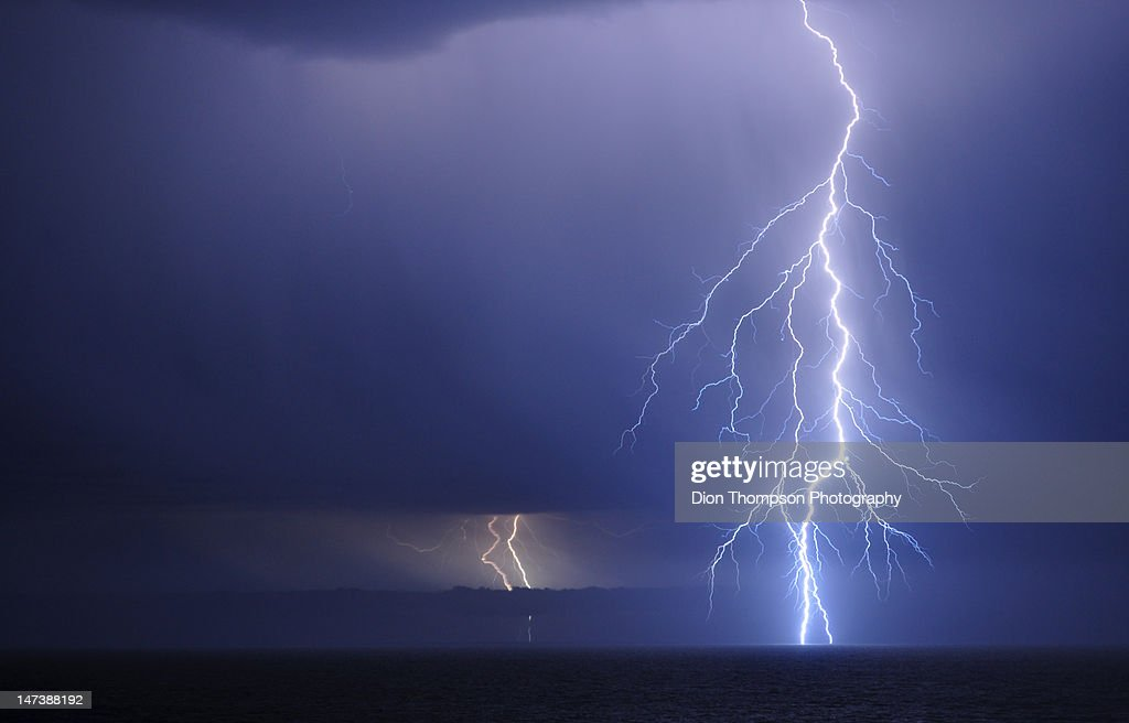 Lightning over Southern Ocean : Stock Photo