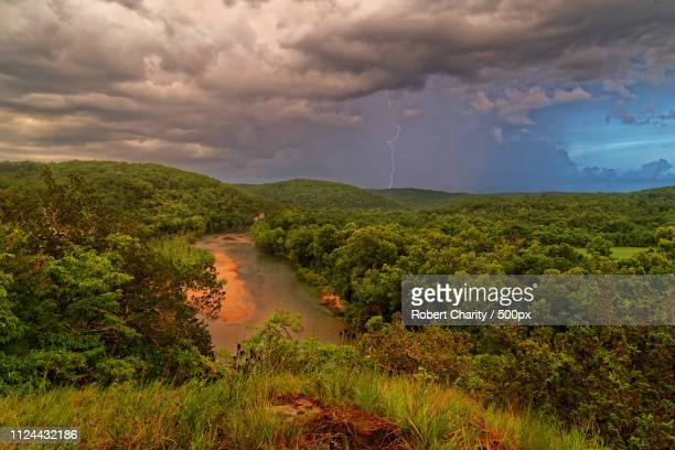 lightning over the current river - ozark mountains stock pictures, royalty-free photos & images