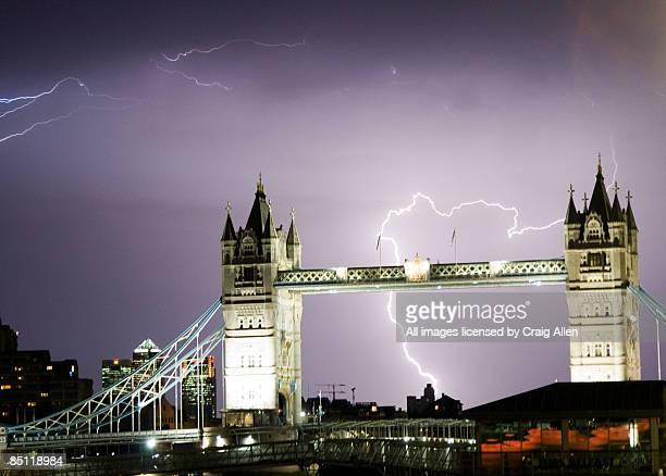 Lightning over Tower Bridge, London