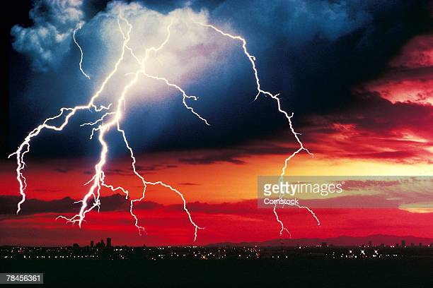 Lightning over urban horizon