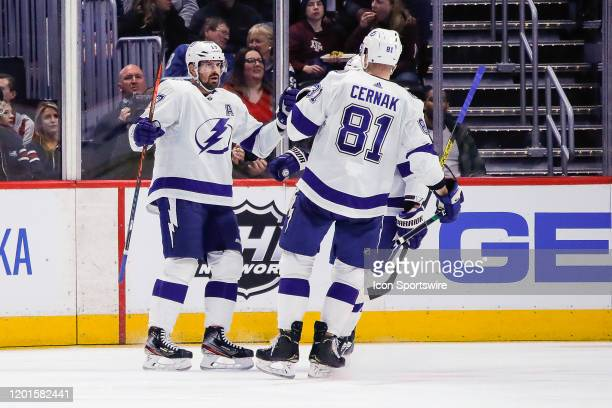 Lightning players congratulate Tampa Bay Lightning left wing Alex Killorn after he scores goal during the Tampa Bay Lightning and Colorado Avalanche...