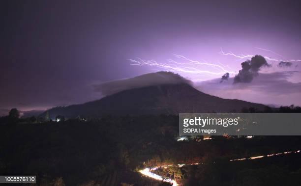 Lightning seen over Mount Sinabung volcano in North Sumatra Indonesia Indonesia is experiencing extreme and rapidly changing weather