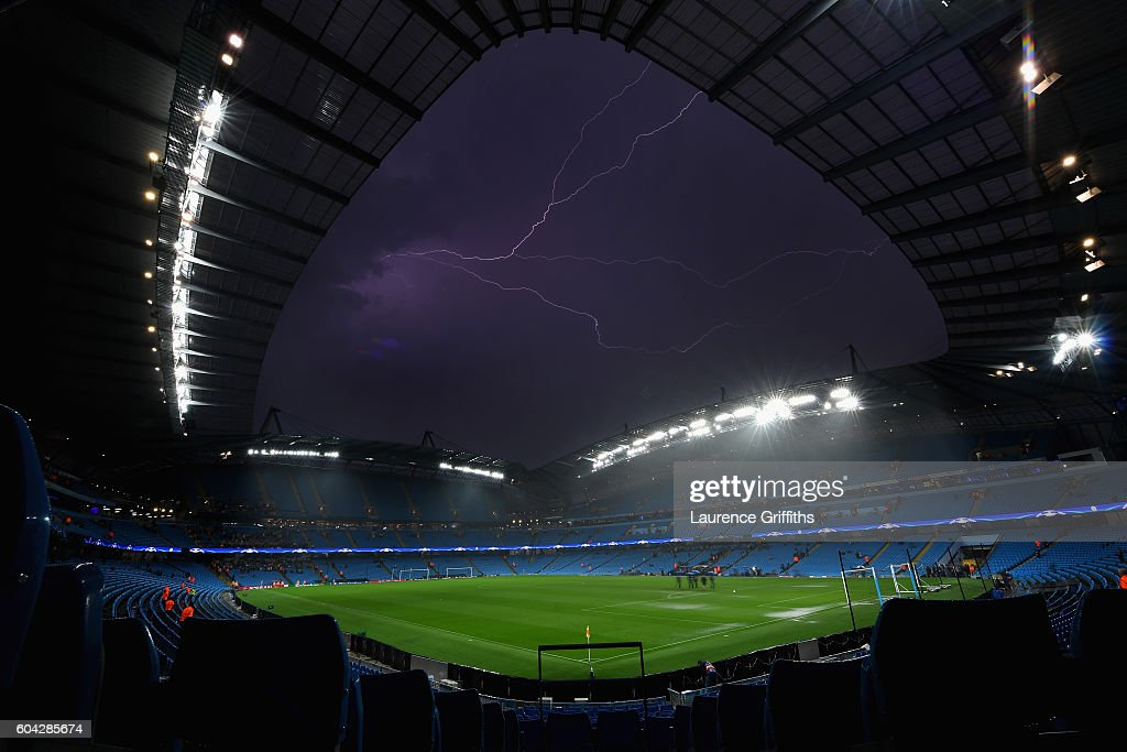 Lightning stikes over the stadium ahead of the UEFA Champions League match between Manchester City and VfL Borrussia Moenchengladbach at Etihad Stadium on September 13, 2016 in Manchester, England.