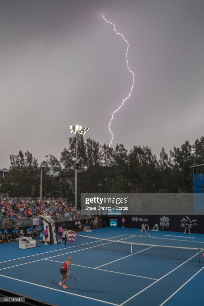 Lightning stops play in the first round match between Angelique Kerber of Germany and Lucie Safarova of the Czech Republic during day one of the 2018 Sydney International at Sydney Olympic Park Tennis Centre on January 8, 2018 in Sydney, Australia.