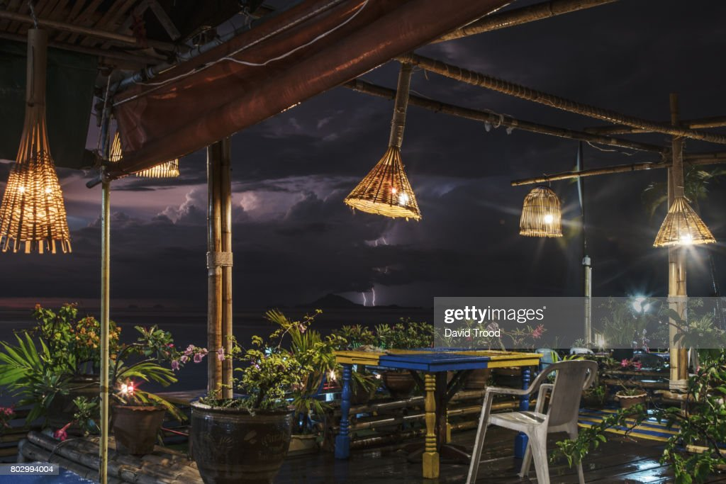 Lightning storm and an outdoor cafe stock photo getty images lightning storm and an outdoor cafe stock photo mozeypictures Image collections