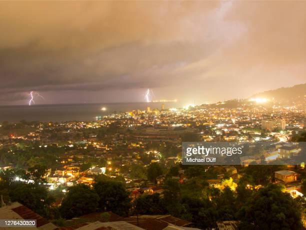 lightning storm approaches freetown, sierra leone - シエラレオネ ストックフォトと画像