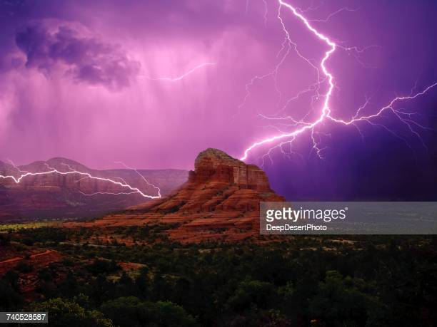Lightning storm around Bell Rock and Courthouse Butte, Sedona, Arizona, America, USA