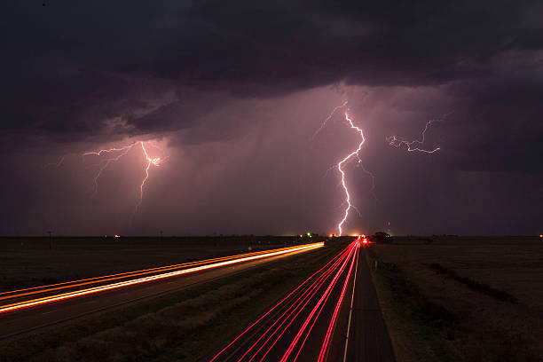 Lightning Storm By A Highway Wall Art