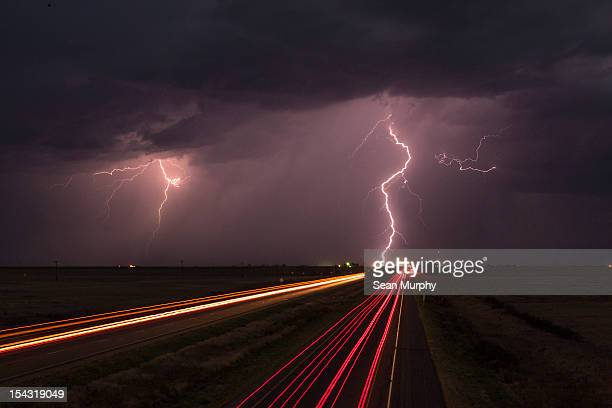 Lightning Storm By a Highway