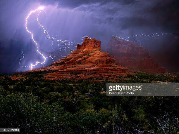lightning storm over bell rock, arizona, america, usa - high dynamic range imaging stock pictures, royalty-free photos & images