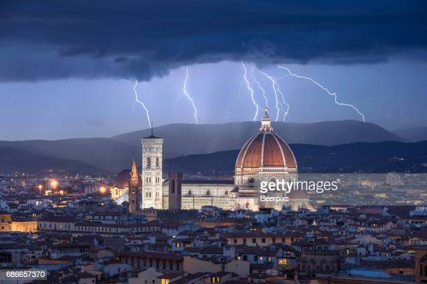 Lightning Storm over Duomo Santa Maria Del Fiore at Florence, Italy.