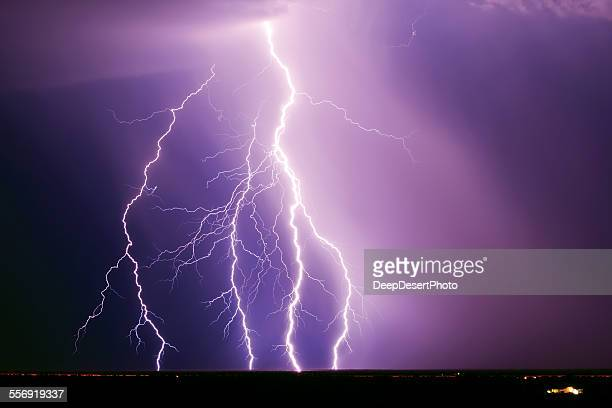 Lightning Storm over Interstate 10 Freeway, Tonopah, Arizona, America, USA