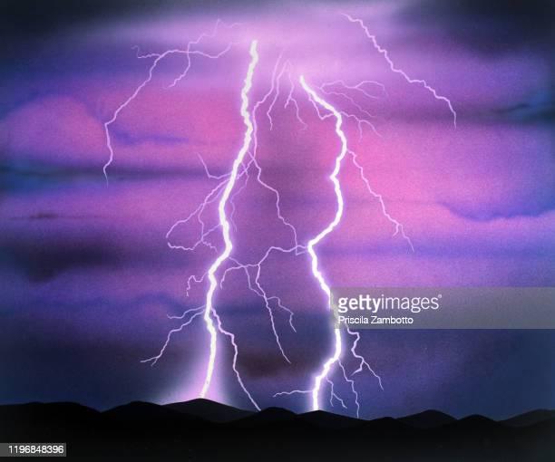 lightning storm - gewitterblitz stock-fotos und bilder
