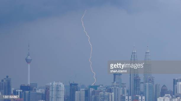 Lightning strike between KL Tower and KLCC tower