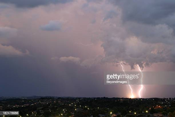 A lightning strike caught in the horizon