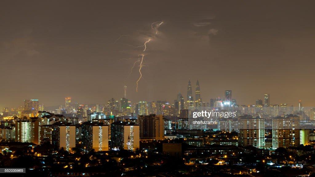 Lightning strike in Kuala Lumpur, Malaysia : Stock Photo