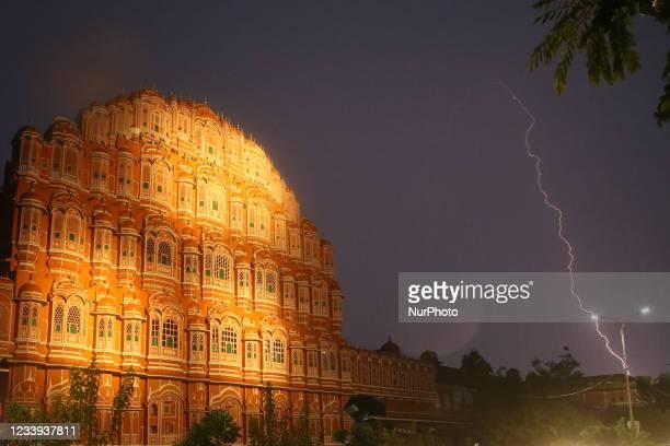 Lightning strike in the sky during the rain near Hawa Mahal in Jaipur, Rajasthan, India, July 11,2021.