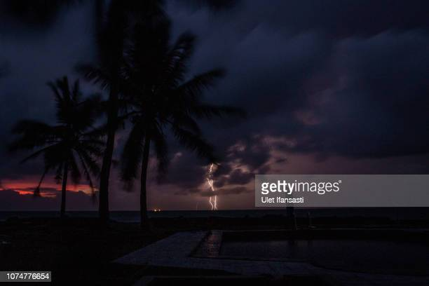 A lightning strike is seen from a affected resort after being hit by tsunami on December 25 2018 in Tanjung Lesung Banten province Indonesia At least...