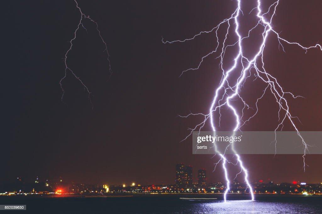 Lightning Strike Over City : Stock Photo