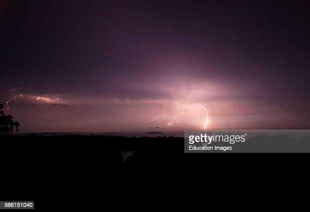 Lightning strike over the Atlantic Maine Coast Camden ME