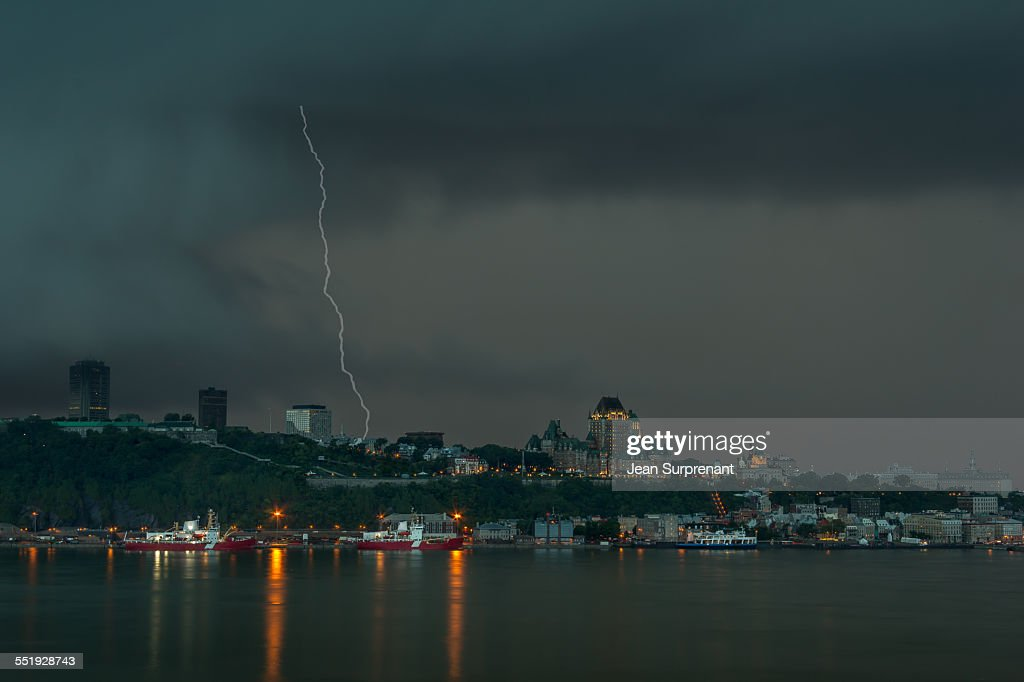 Lightning strike Quebec City : Stock Photo