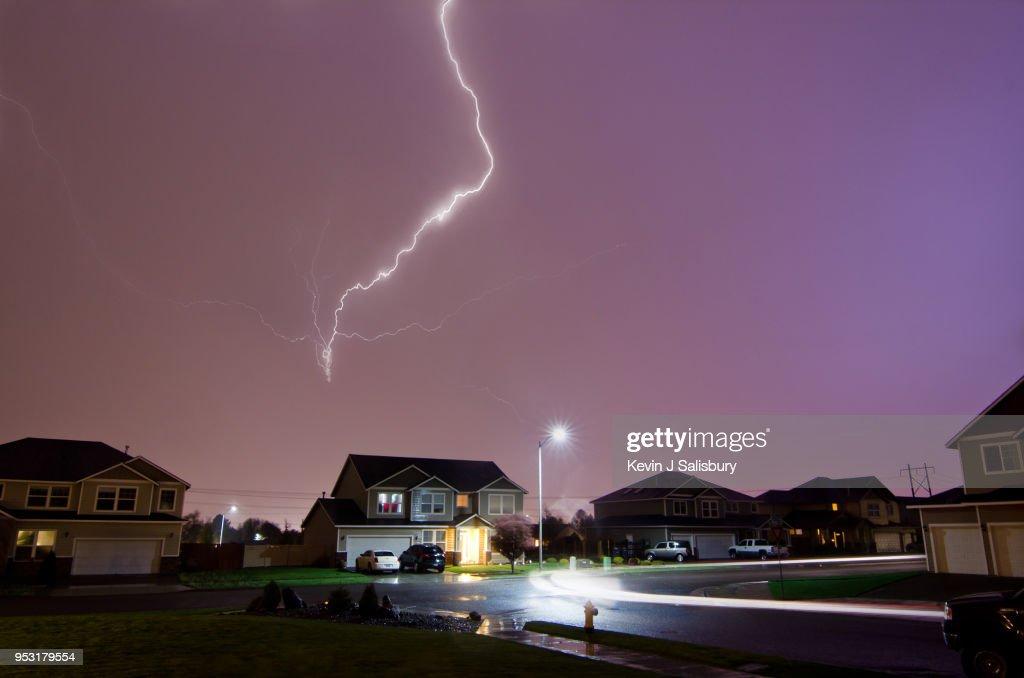 Lightning Strikes Above Home : Stock Photo