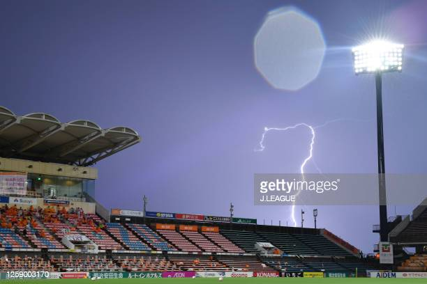 Lightning strikes as the match is suspended due to bad weather during the JLeague Meiji Yasuda J1 match between Shimizu SPulse and Oita Trinita at...