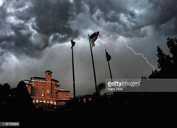 Lightning strikes cause a weather delay during the final round of the 2011 US Women's Open at The Broadmoor on July 10 2011 in Colorado Springs...