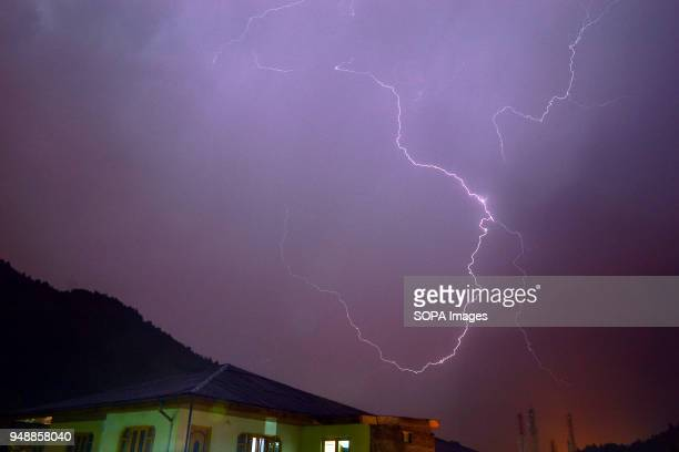 Lightning strikes during a thunderstorm in Srinagar Indian administered Kashmir