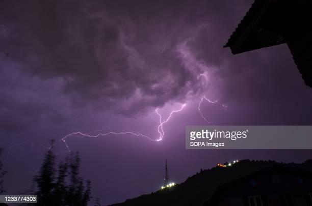 Lightning strikes during a thunderstorm in Srinagar.