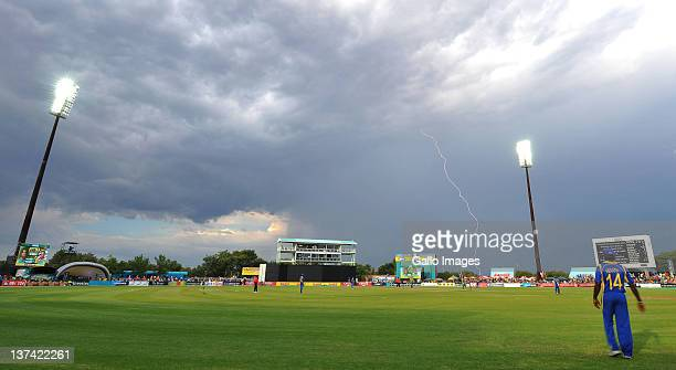 Lightning strikes during the 4th ODI match between South Africa and Sri Lanka at De Beers Diamond Oval on January 20 2012 in Kimberley South Africa