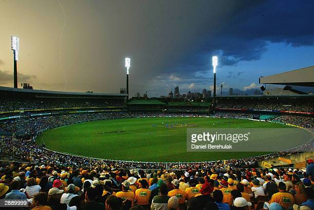 Lightning strikes during the VB Series One Day International between Australia and India at the SCG on January 22 2004 in Sydney Australia