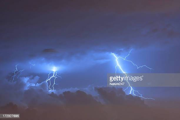 A lightning strikes from the sky during a thunderstorm