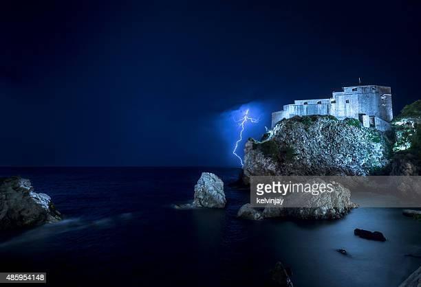 Lightning strikes in Dubrovnik, Croatia at night