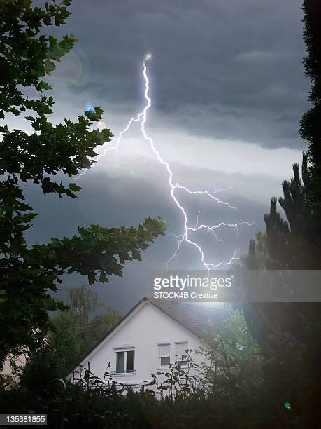 Lightning strikes into house