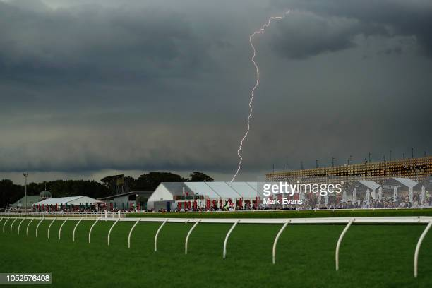 Lightning strikes just before the last race during Sydney Racing at Royal Randwick Racecourse on October 20 2018 in Sydney Australia