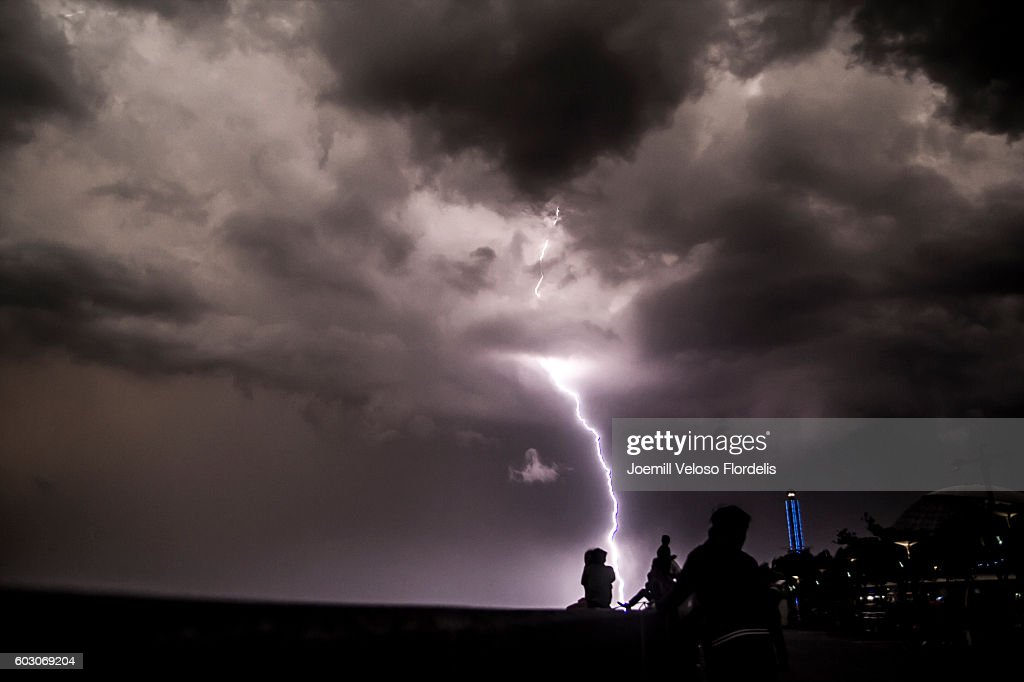 Lightning Strikes Manila Bay (Philippines) : Stock Photo