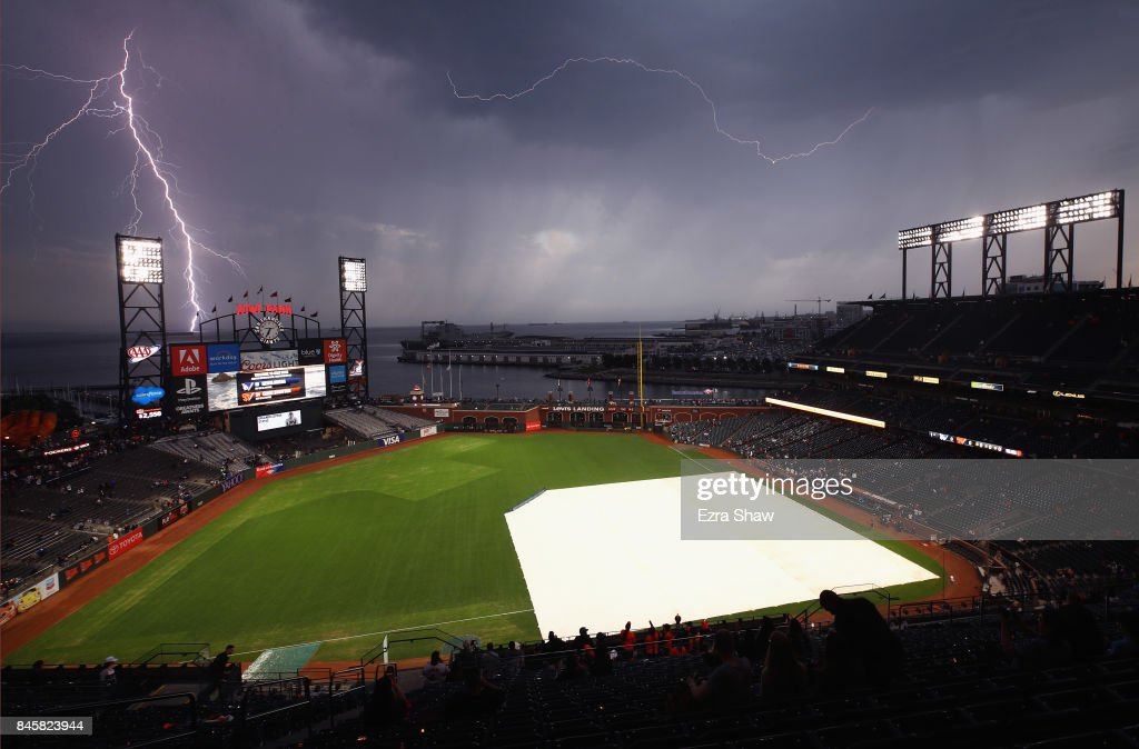 Lightning strikes near AT&T Park before the San Francisco Giants game against the Los Angeles Dodgers on September 11, 2017 in San Francisco, California.