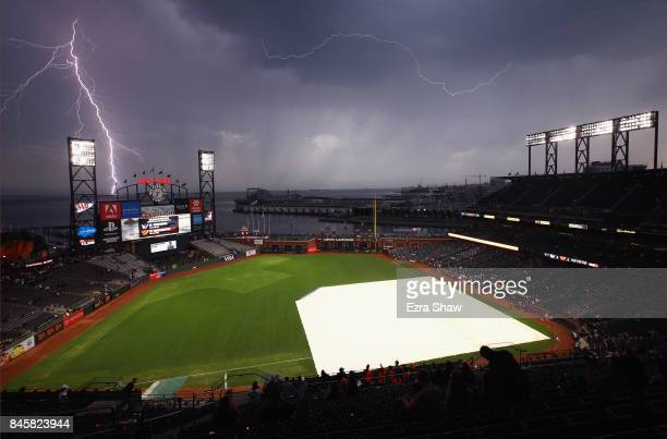 Lightning strikes near ATT Park before the San Francisco Giants game against the Los Angeles Dodgers on September 11 2017 in San Francisco California