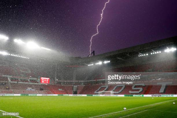 Lightning strikes near stadium of PSV during the Dutch Jupiler League match between PSV U23 v Go Ahead Eagles at the De Herdgang on April 10, 2018 in...