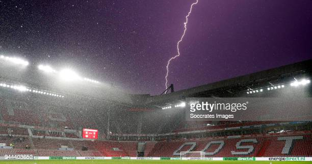 Lightning strikes near stadium of PSV during the Dutch Jupiler League match between PSV U23 v Go Ahead Eagles at the De Herdgang on April 10 2018 in...